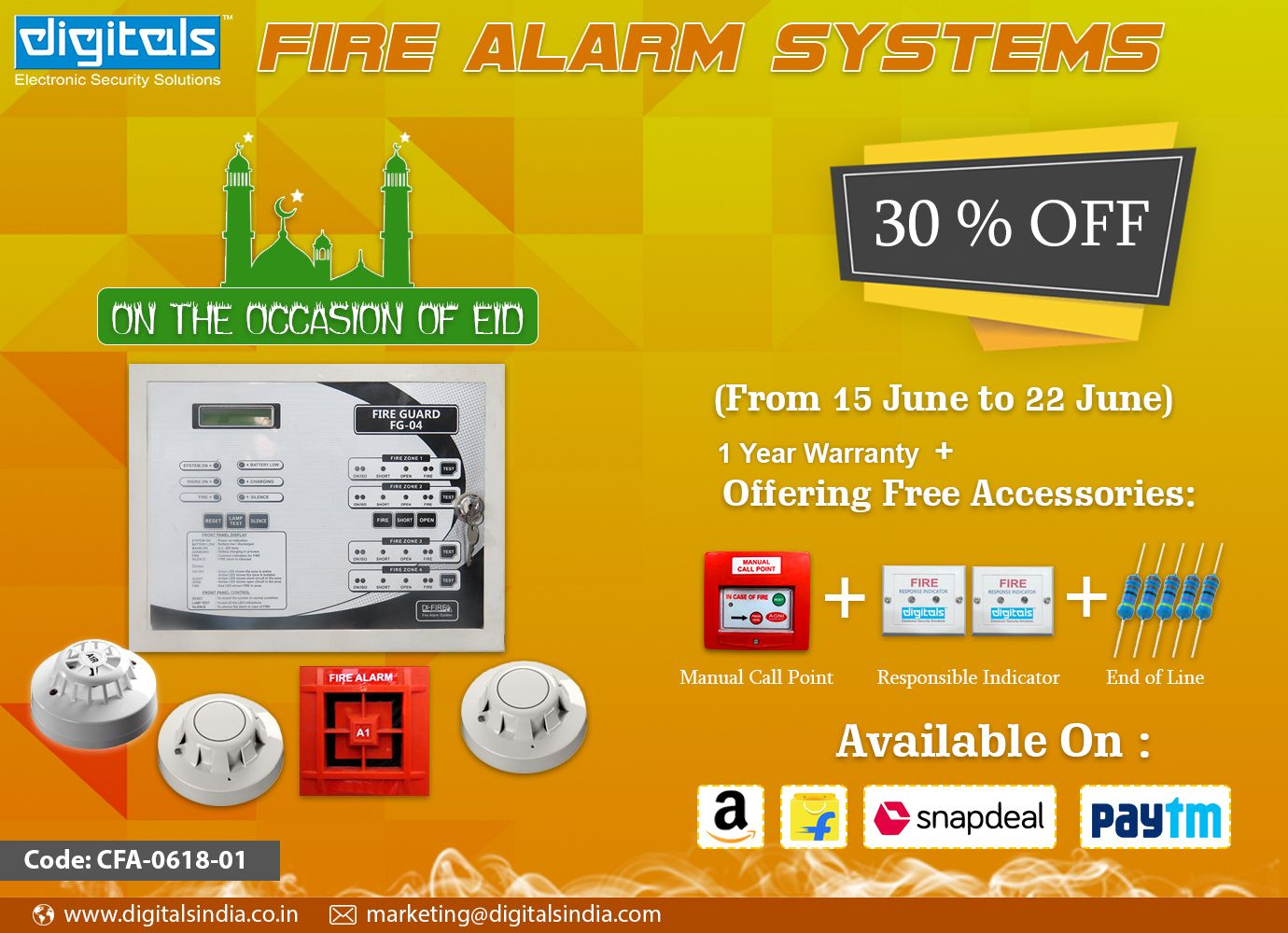 Advance Fire Alarm System with installation at 999/ only