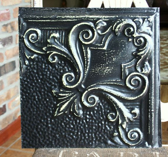 Genuine Antique Ceiling Tile 12 X 12 Distressed Black Paint Unique Swirl Design Antique Tin Tile Antique Ceiling Tile Black Ceiling Tiles