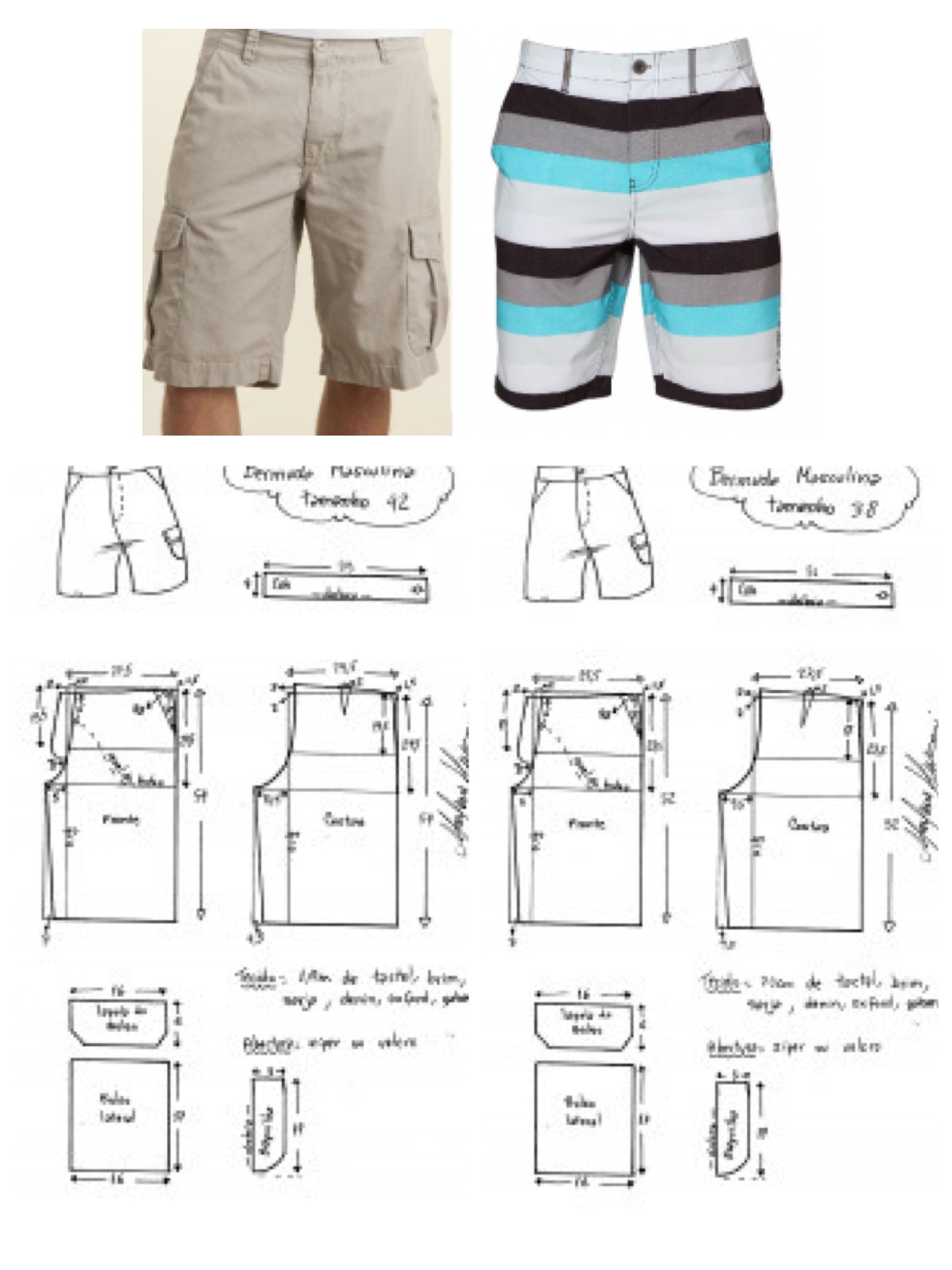 Mens cargo shorts board shorts swim pattern | Patternmaking ...