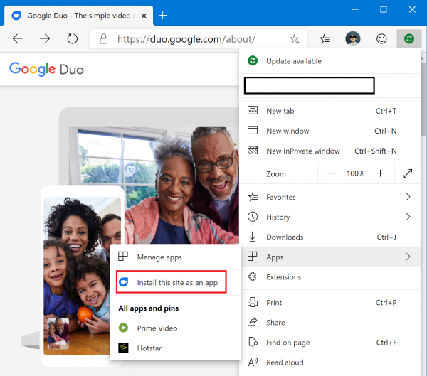 Google Duo app is not available for Windows 10, but Google
