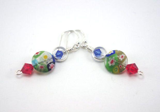 493a7013964f75 Millefiori bead drop earrings