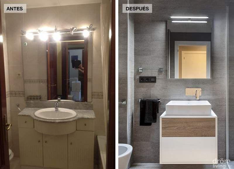 Reforma de un piso de 90 m2 antes y despu s antes y - Reformar bano pequeno ...