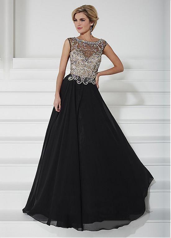 Chiffon A-line Gown Bateau Illusion Neckline Floor-Length Mother ...
