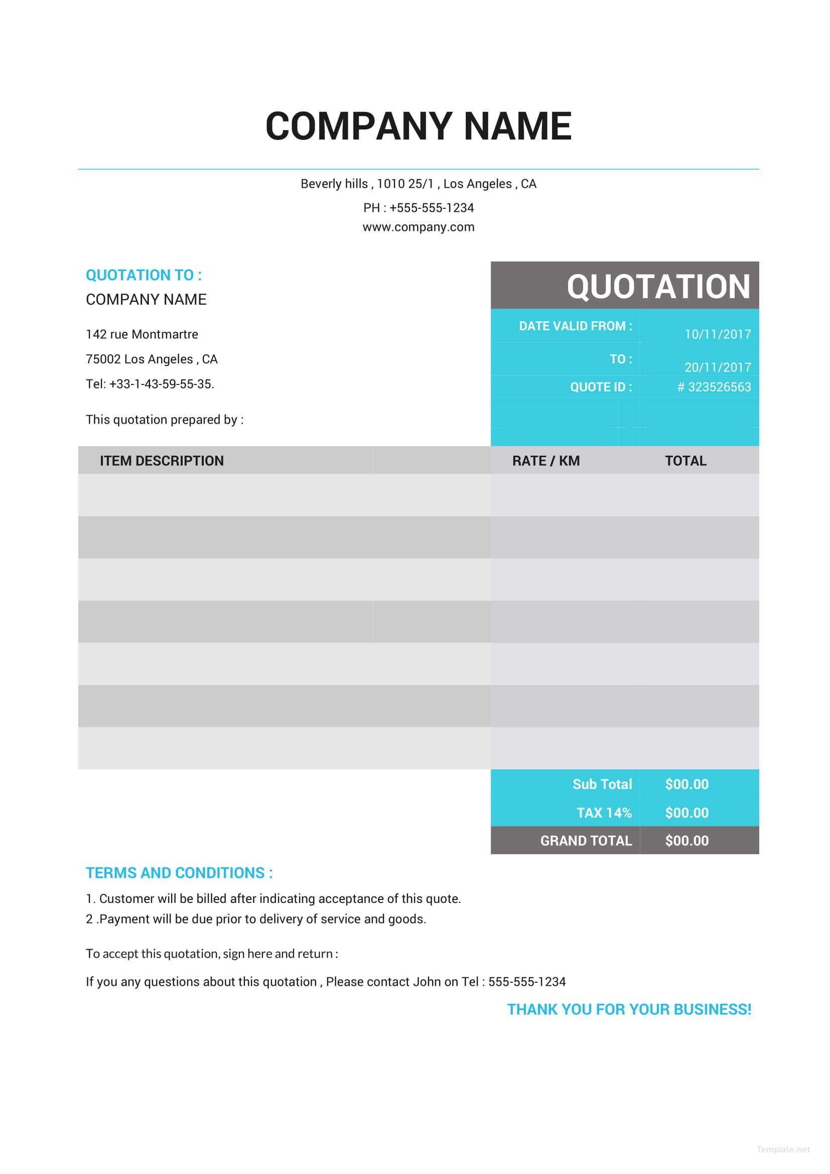 Free Taxi Quotation Cotizacion Formato Formato