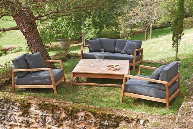 magnifique salon bas de jardin bois | Décoration française | Pinterest