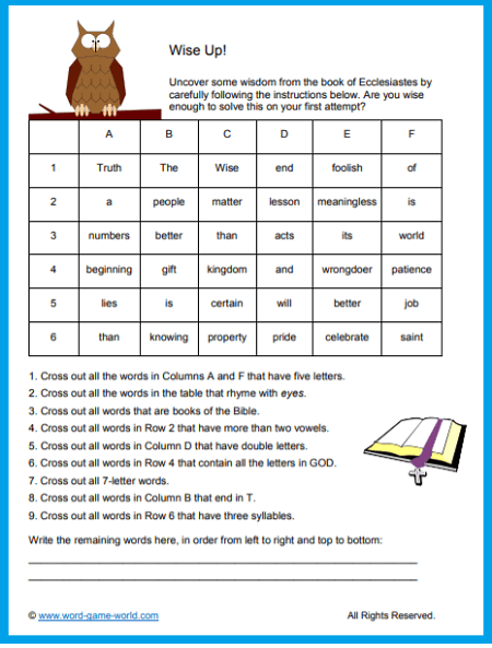 Our Bible Word Puzzles Are Fun and Instructive | Word ...