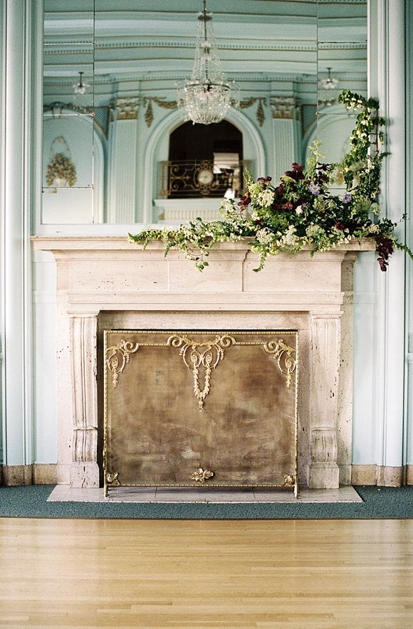Asymmetrical Fireplace Mantel Garland Wedding Flowers
