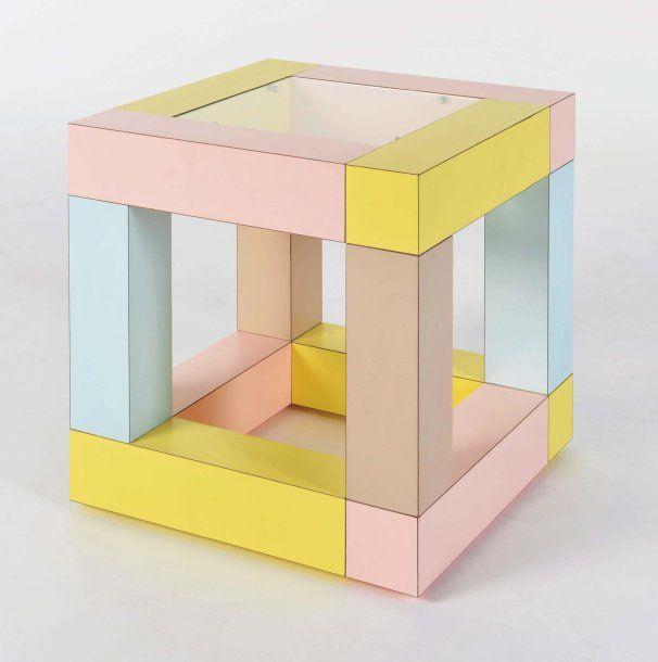 MINTY WARES   Pastel geometric side table. The Greatest. EttoreSottsass Mimosa side table, 1984
