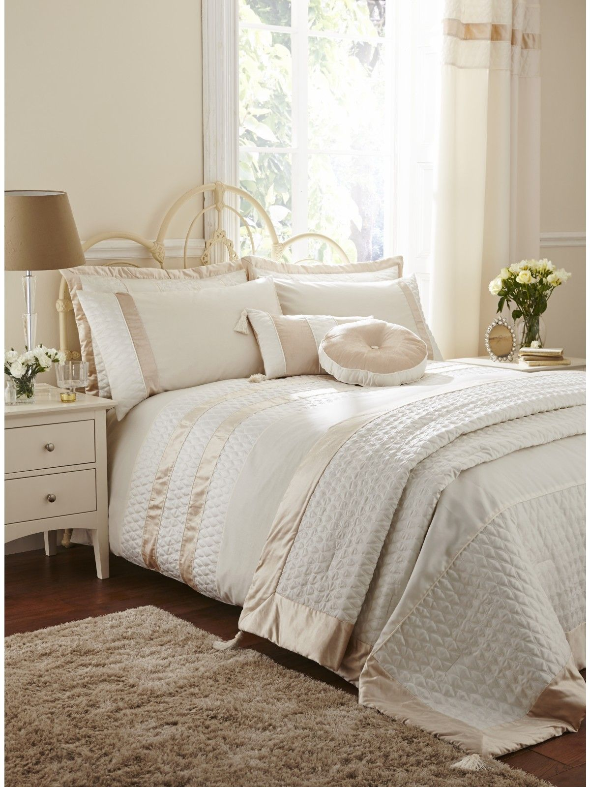 Life From Coloroll Aston Quilted Panel Duvet Set Cream Ponden Homes