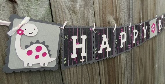 Happy Birthday Banner and Name Banner Combo Pink Dinosaur Theme