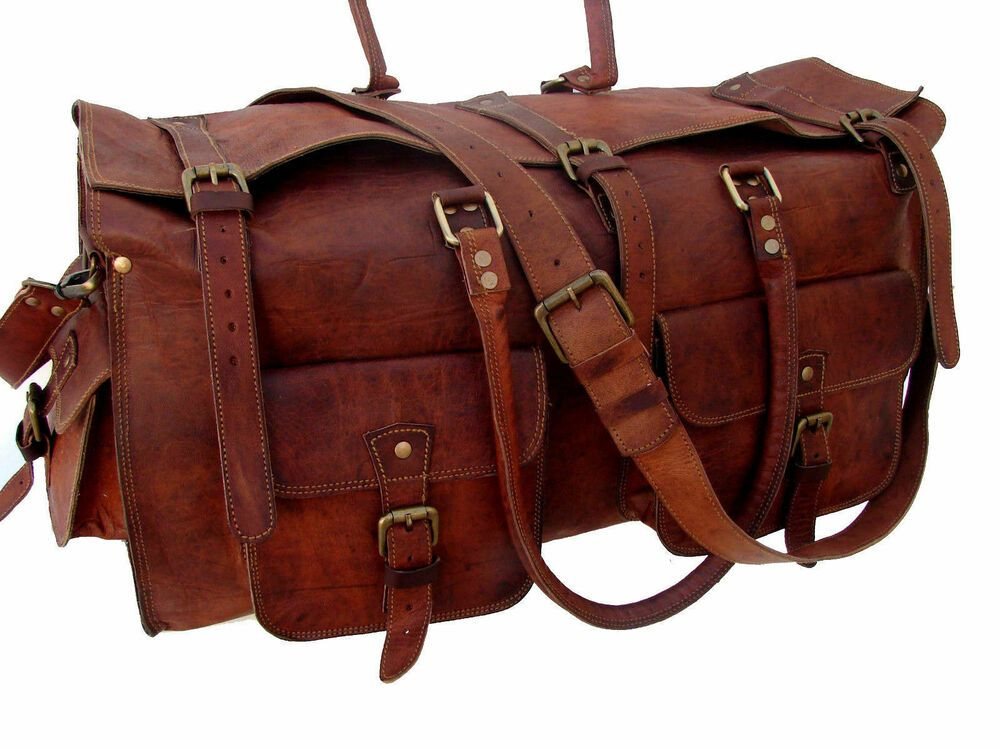 Handmade Men/'s New Vintage Genuine Leather Duffel Overnight Luggage Large Bag