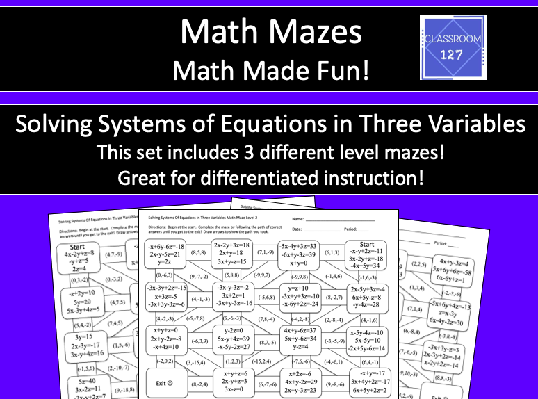 Solving Systems Of Equations With Three Variables Math