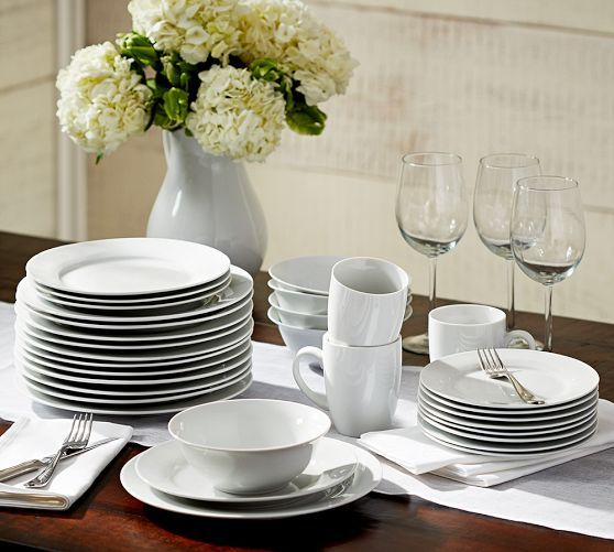 Caterer S 4 12 Piece Dinnerware Sets Pottery Barn Bowls And Etizer Plates