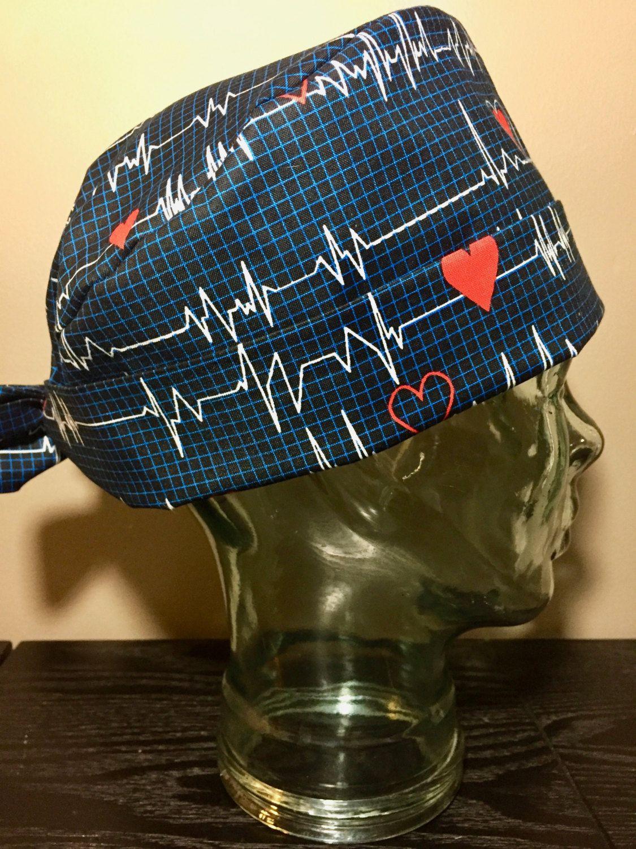 6436d5e0271 We Love Cardiac Surgery Surgical Scrub Hat, Women's ECG Monitor Pixie Scrub  Hat, Tie Back Operating Room Hat, Custom Caps Company by CustomCapsCompany  on ...