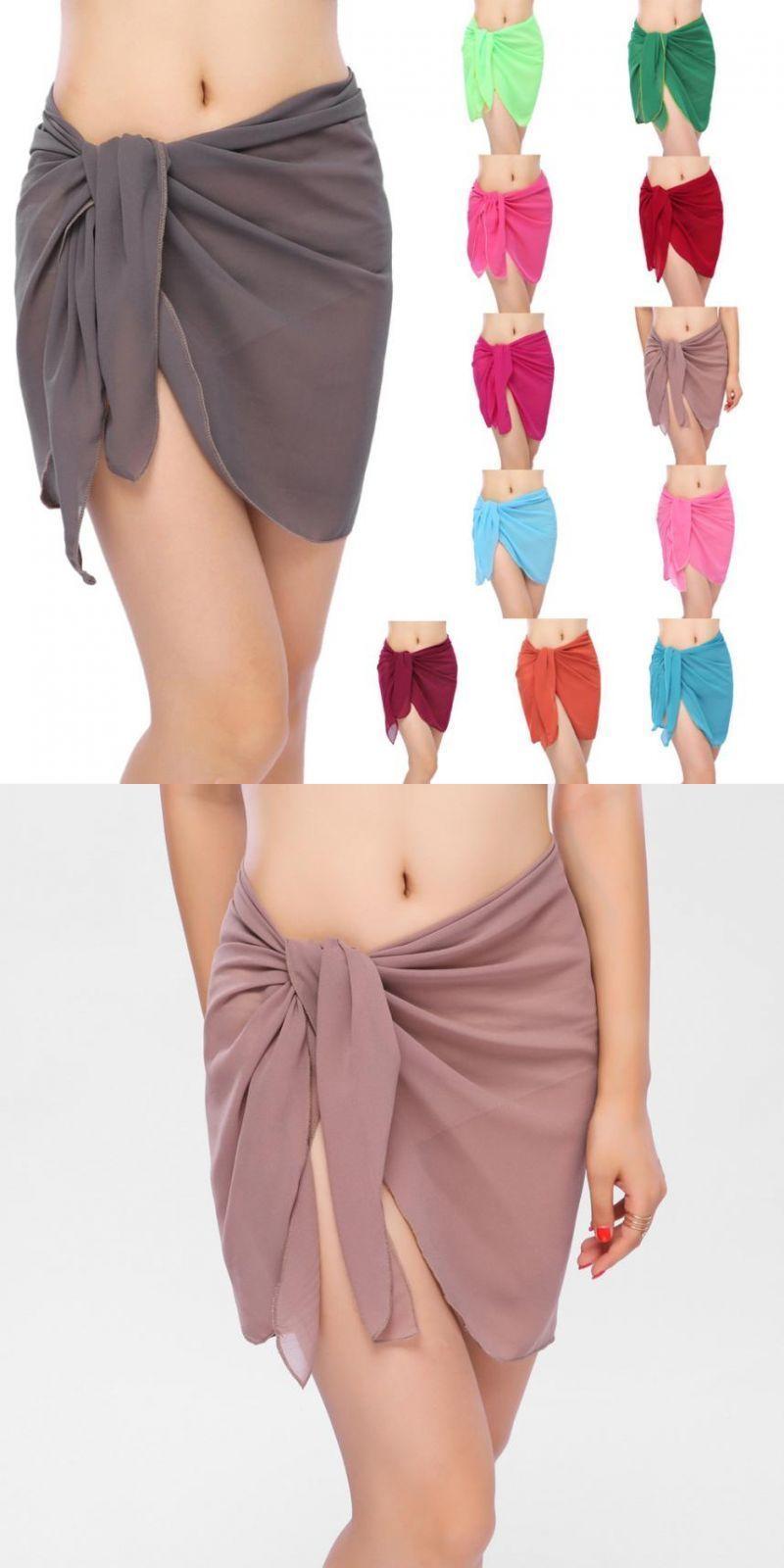 769561d61e Summer beach wear skirts women solid cover up chiffon bikinis swimwear wrap  swimsuit bathing suit cover