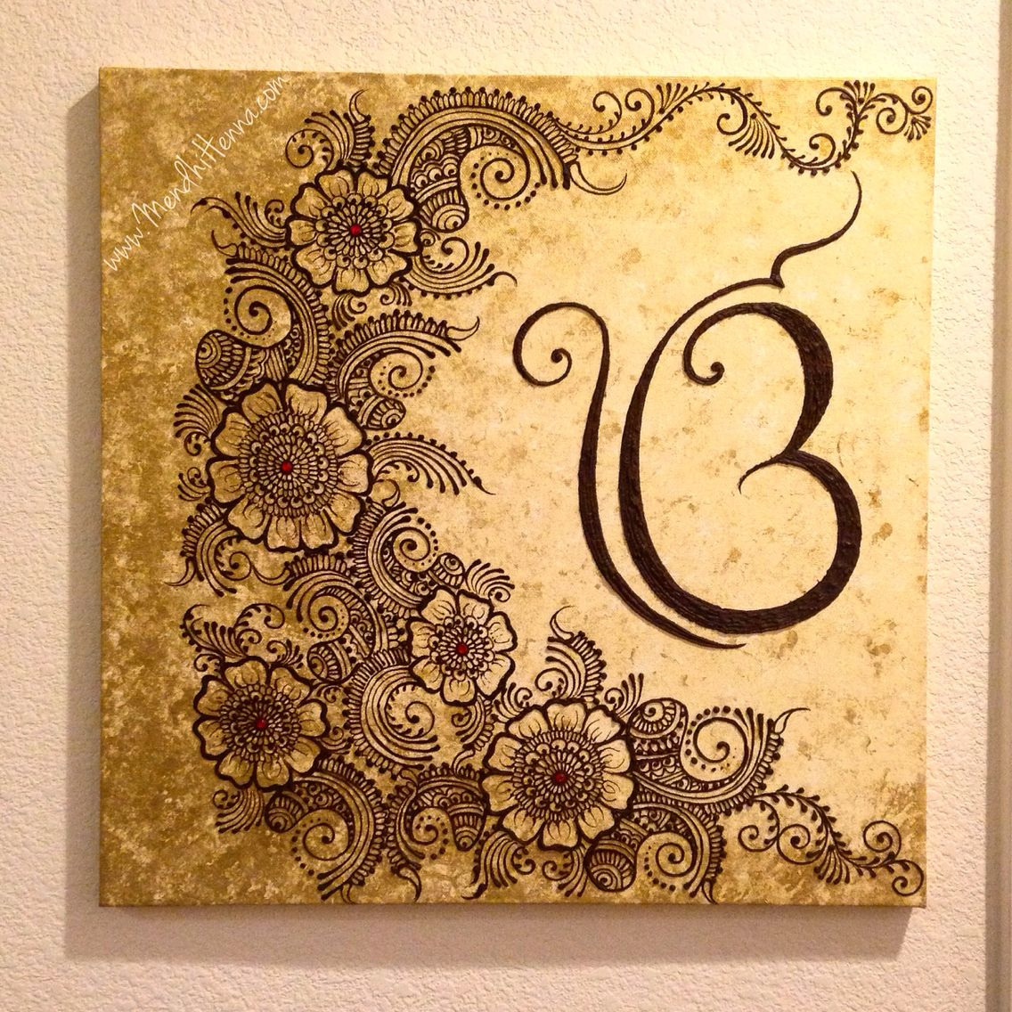 20x20 henna canvas wall decor www.MendhiHenna.com Instagram ...