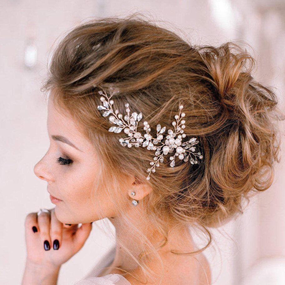 Bridal hair pieceWedding hair vine pearlsCrystal Bridal headpiece