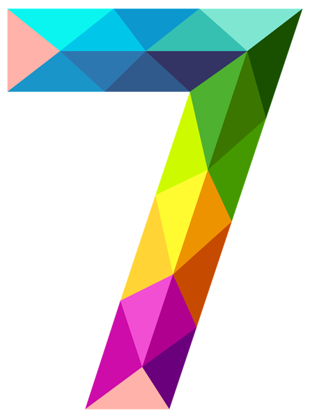 Colourful Triangles Number Seven Png Clipart Image Khung