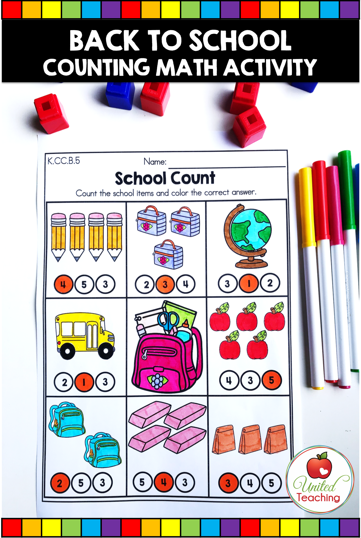 Back To School Math Worksheets Kindergarten
