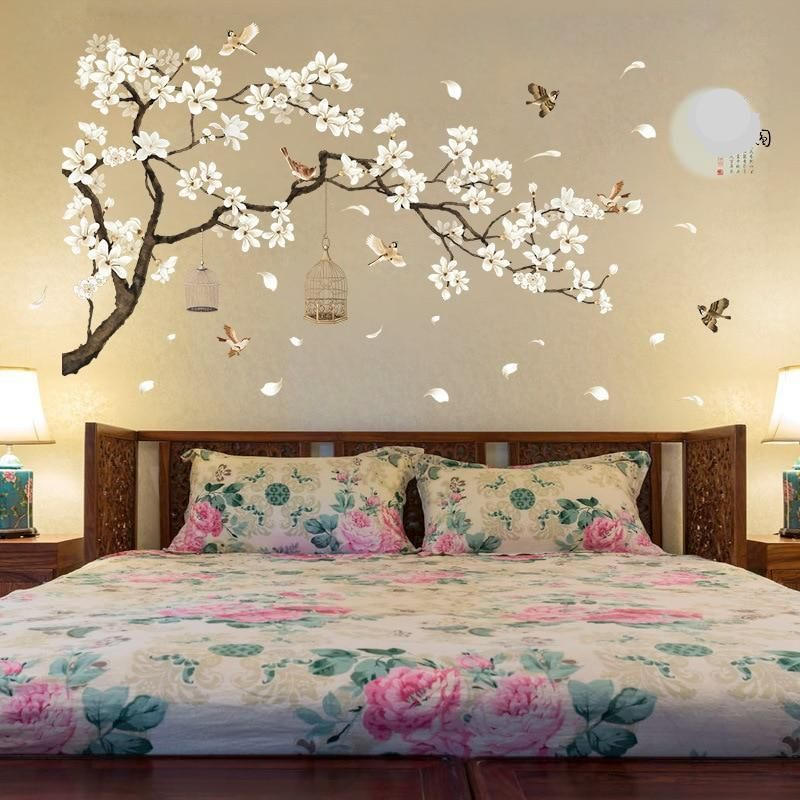 187 128cm Big Size Tree Wall Stickers Birds Flower Home Decor
