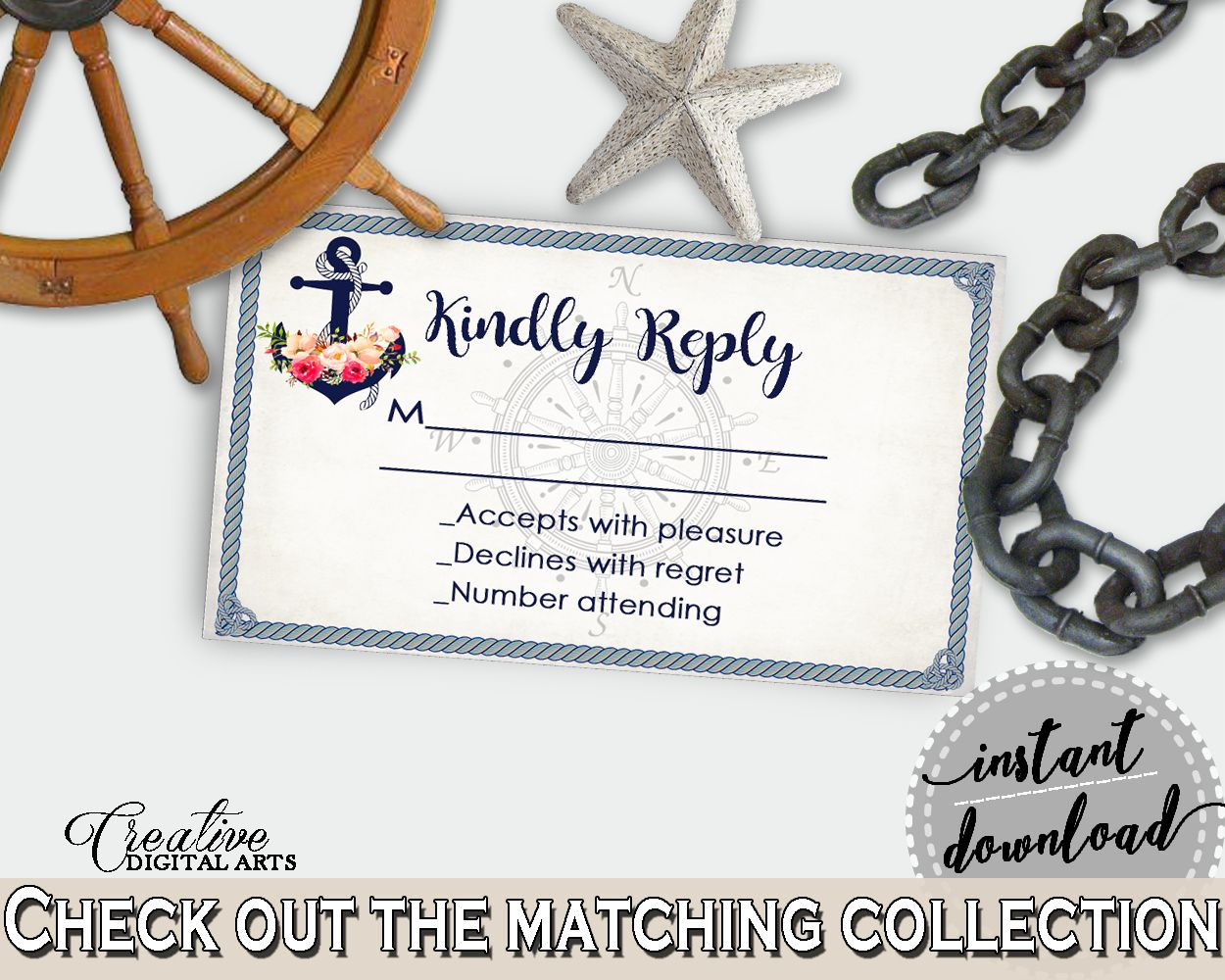 navy blue nautical anchor flowers bridal shower theme invitation insert kindly reply response card cruising theme party theme 87bsz bridalshower