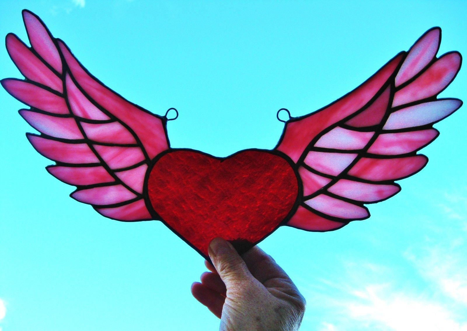"""Stained Glass Window Suncatcher Panel """"Winged Heart"""" New ... - photo#9"""