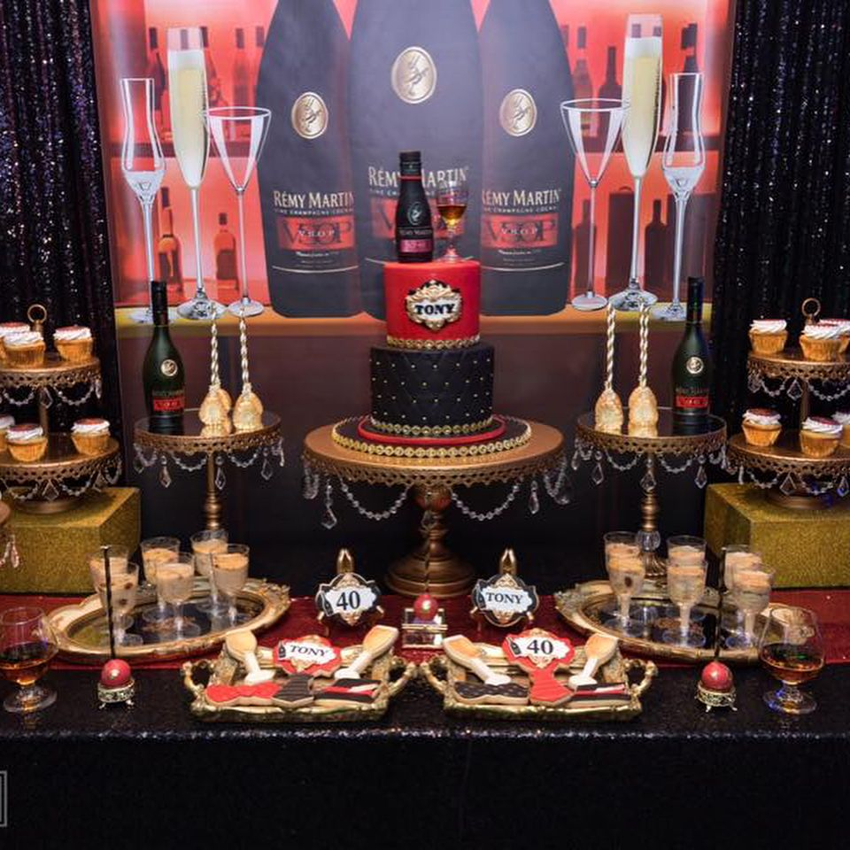 58 Likes 1 Comments Opulent Treasures Opulenttreasures On Instagram Remy Martin Sweet Table E Remy Martin Cake Table Birthday Cake Table Decorations