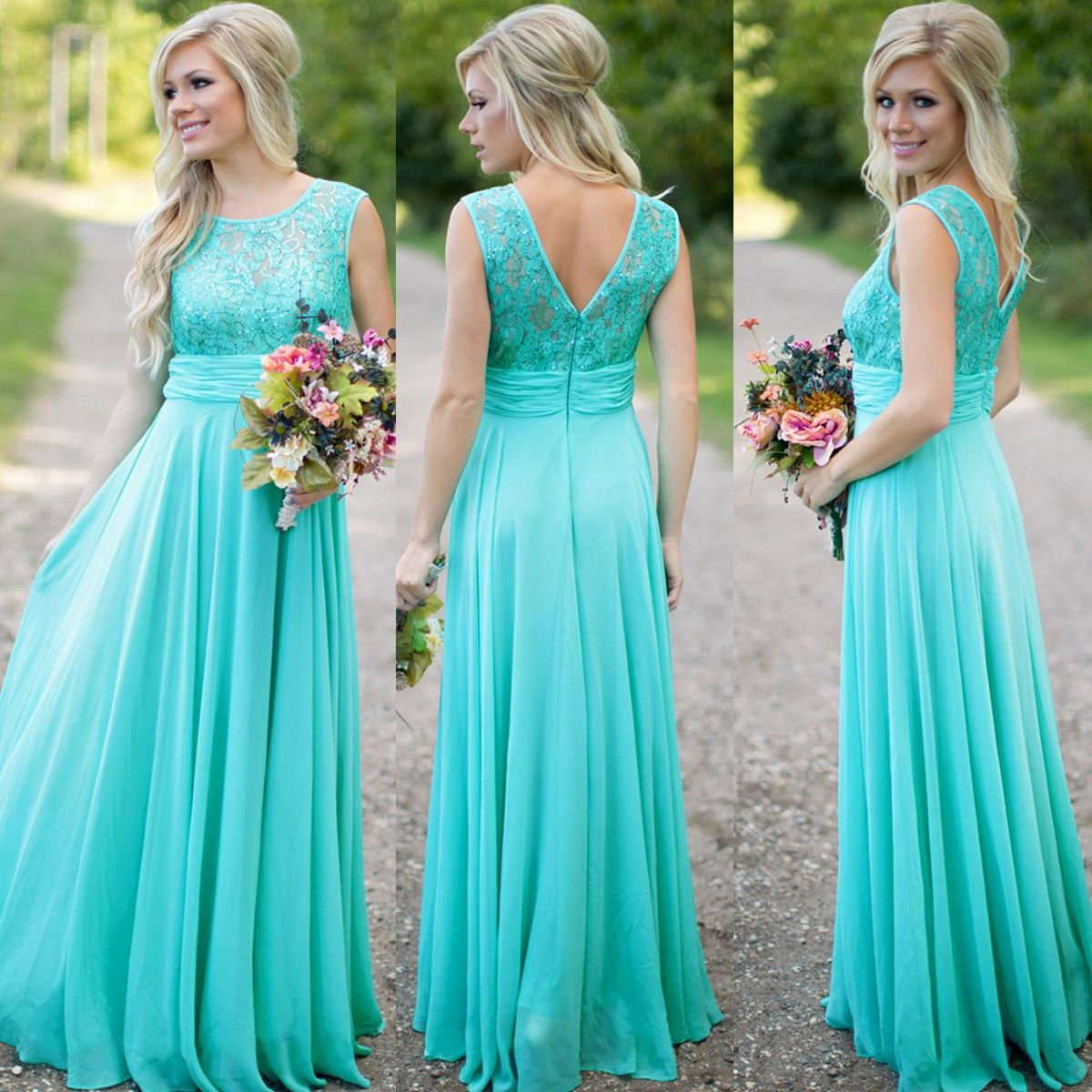 Not The Color But Style Http Www Luulla Product 618432 Turquoise Blue Bridesmaid Dress Lace Long Wedding Party