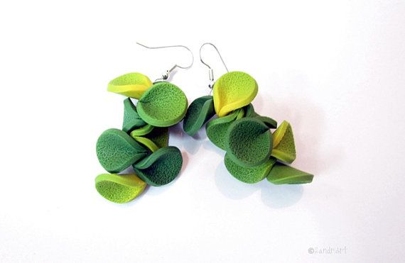 Green yellow handmade polymer clay earrings by SandrArts on Etsy, $10.50