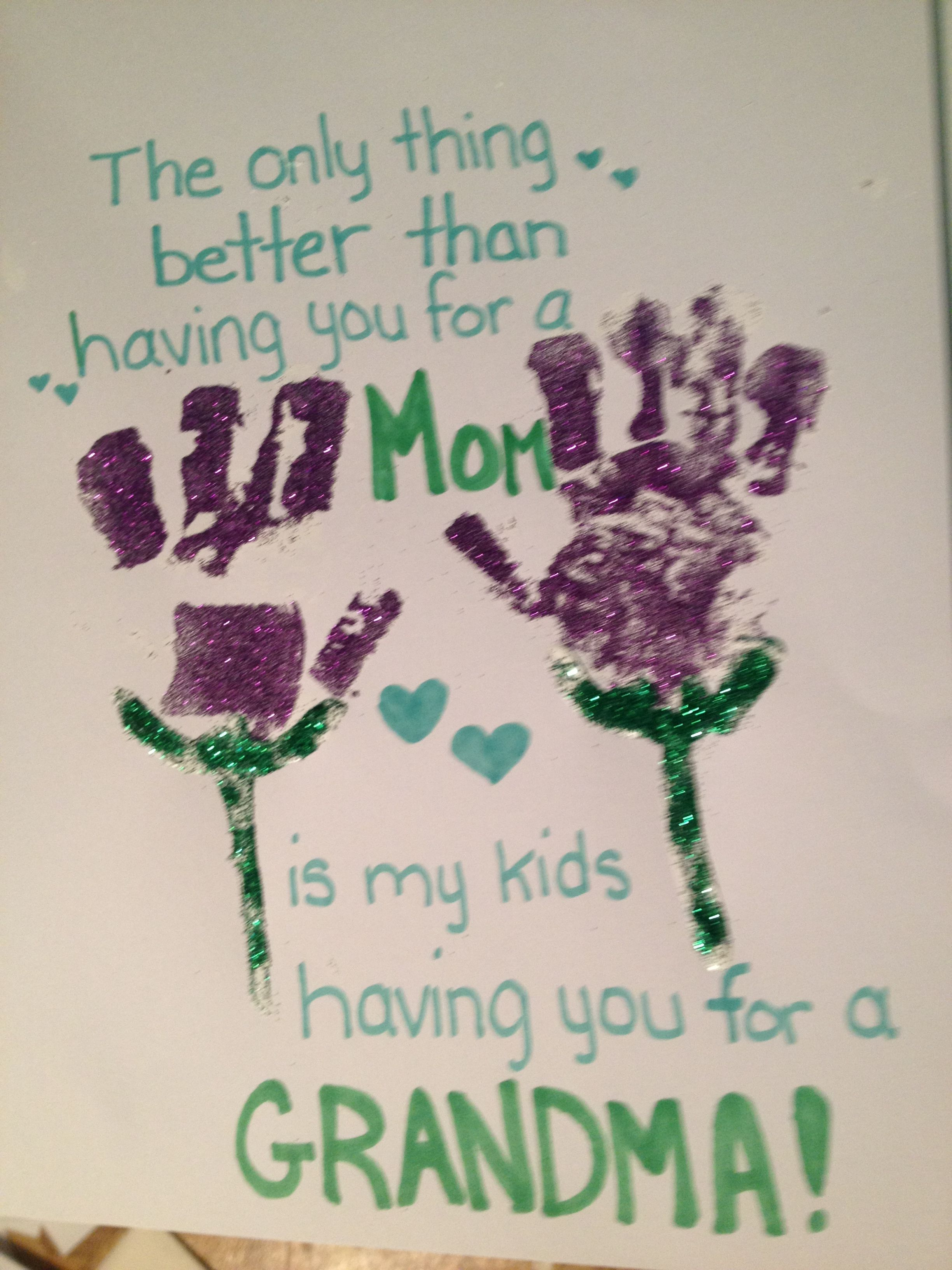 Homemade mothers day card handprint footprint grandma