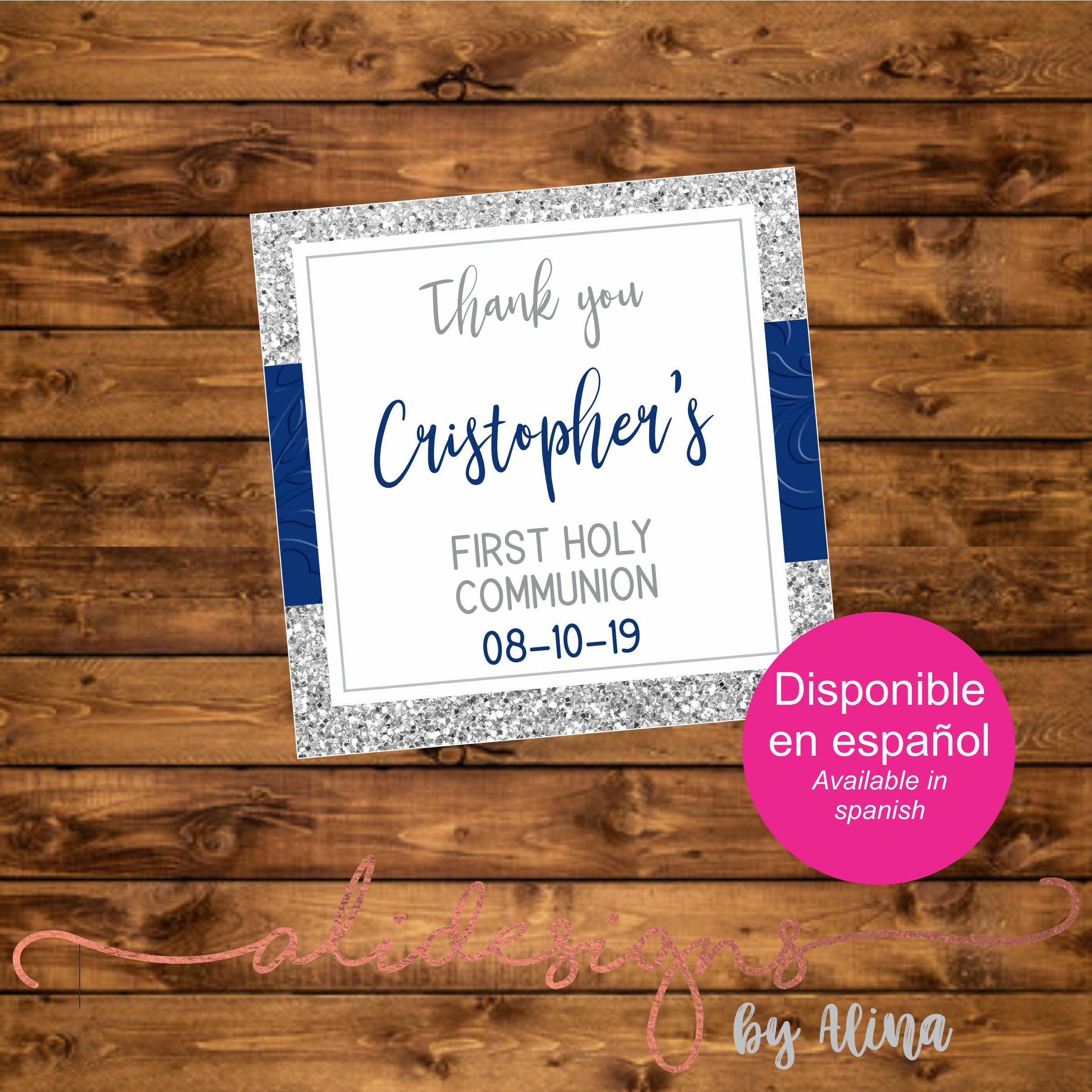 Square favor tags for Holy Communion, printable file by