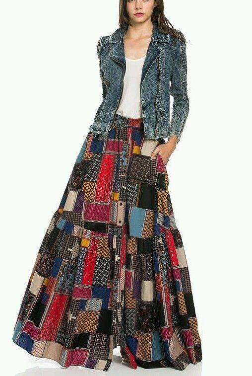 2bd6c50ac2b TOV HOLY LONG Patchwork Maxi Skirt | Max's Favorite Dresses | Skirts ...