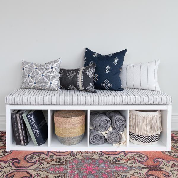 Rodin Stripe Foam Bench Cushion Natural Ikea Hack Kallax