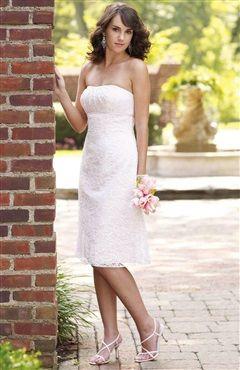 Strapless Empire Knee-Length Lace Wedding Dress