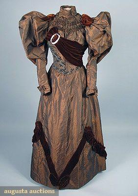 1895 iridescent 2-piece day dress - bronze brocade shot silk w/huge mutton sleeves, rust velvet trim, and green carnival glass bead trim.