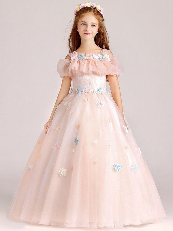 Girls Mesh Stereo Flowers A-Line/Princess Knee-length Prom ...
