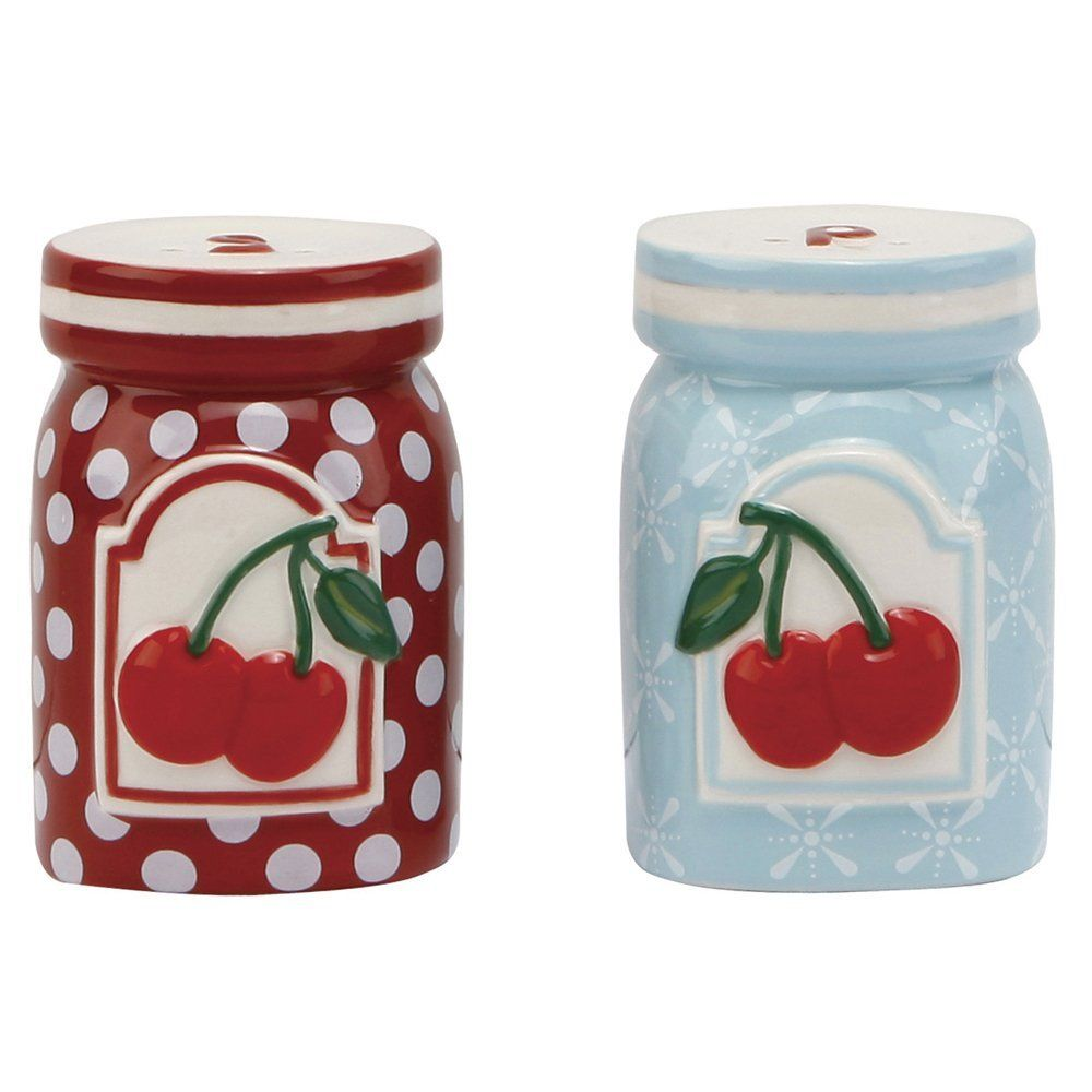 Amazon Com C R Gibson Jessie Steele Ceramic Salt And Pepper Set Kitchen Cherry Kitchen Dining Acessorios De Cozinha Galheteiro Colorida