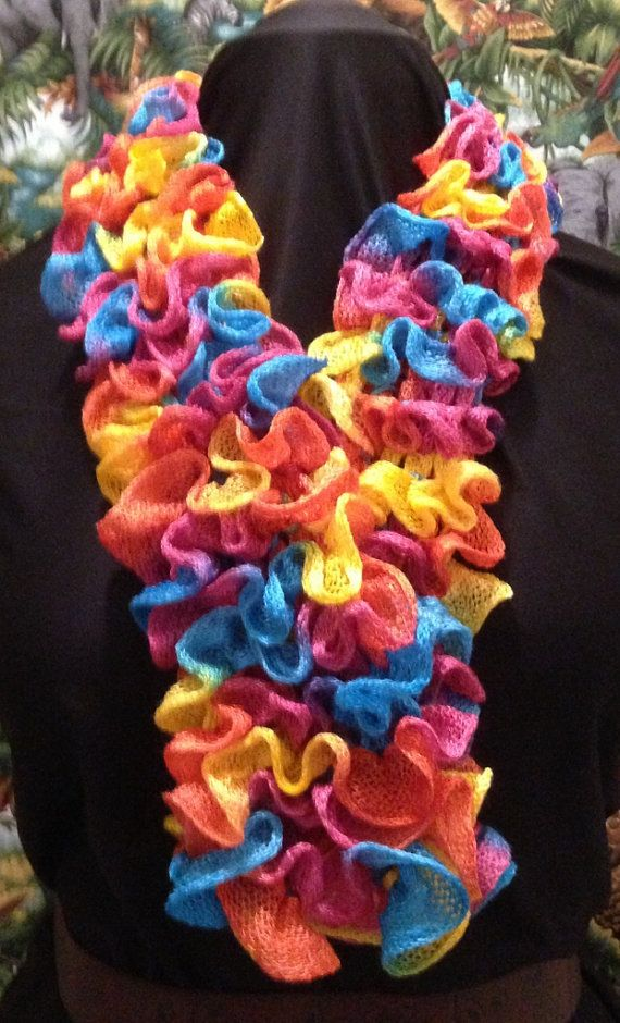 Rich colored Pastels Mesh Knitted Ruffle Scarf Boa