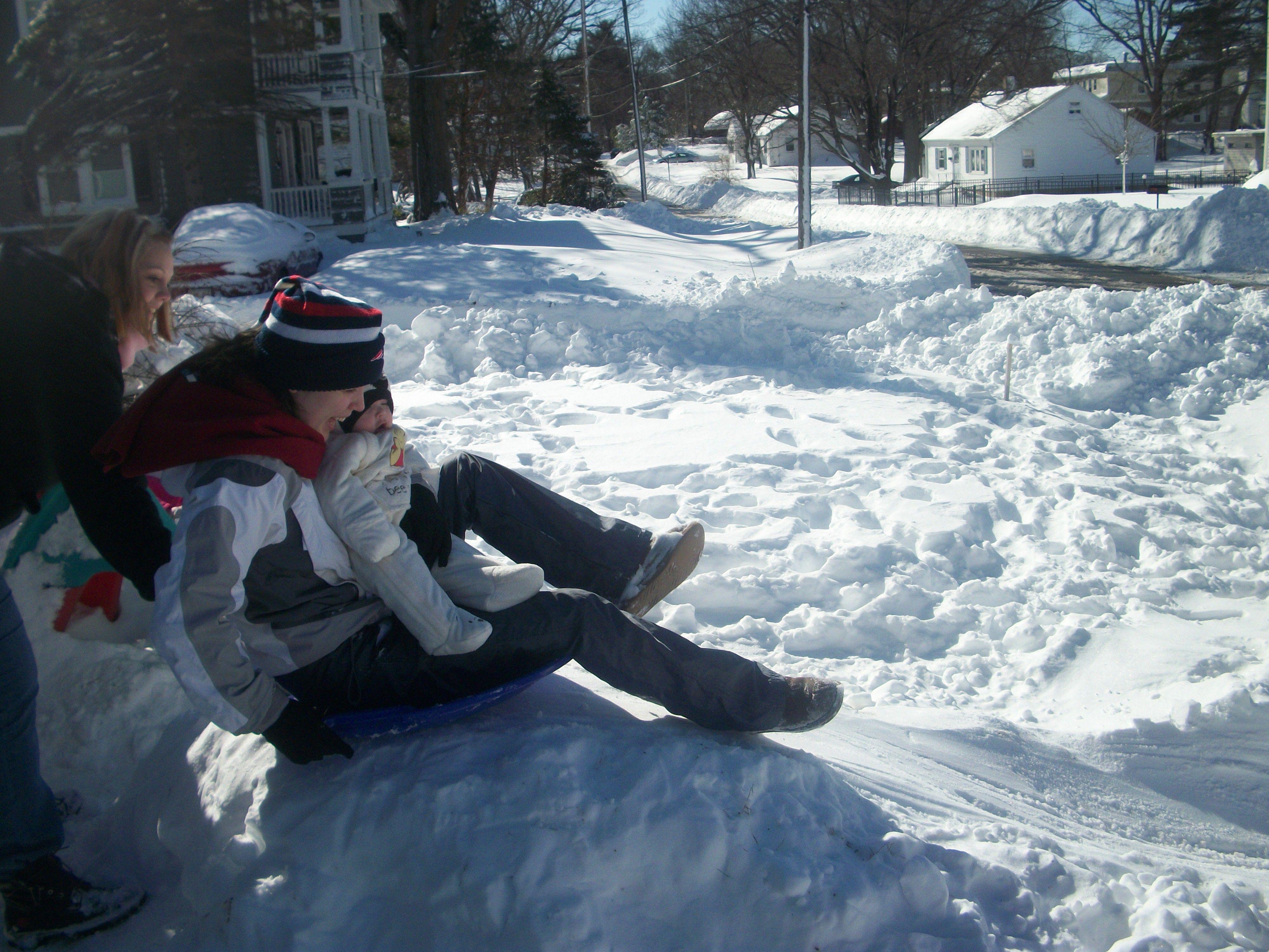 My gf @Kristen Klegraefe giving my boy & I a shove down the sledding ramp <3
