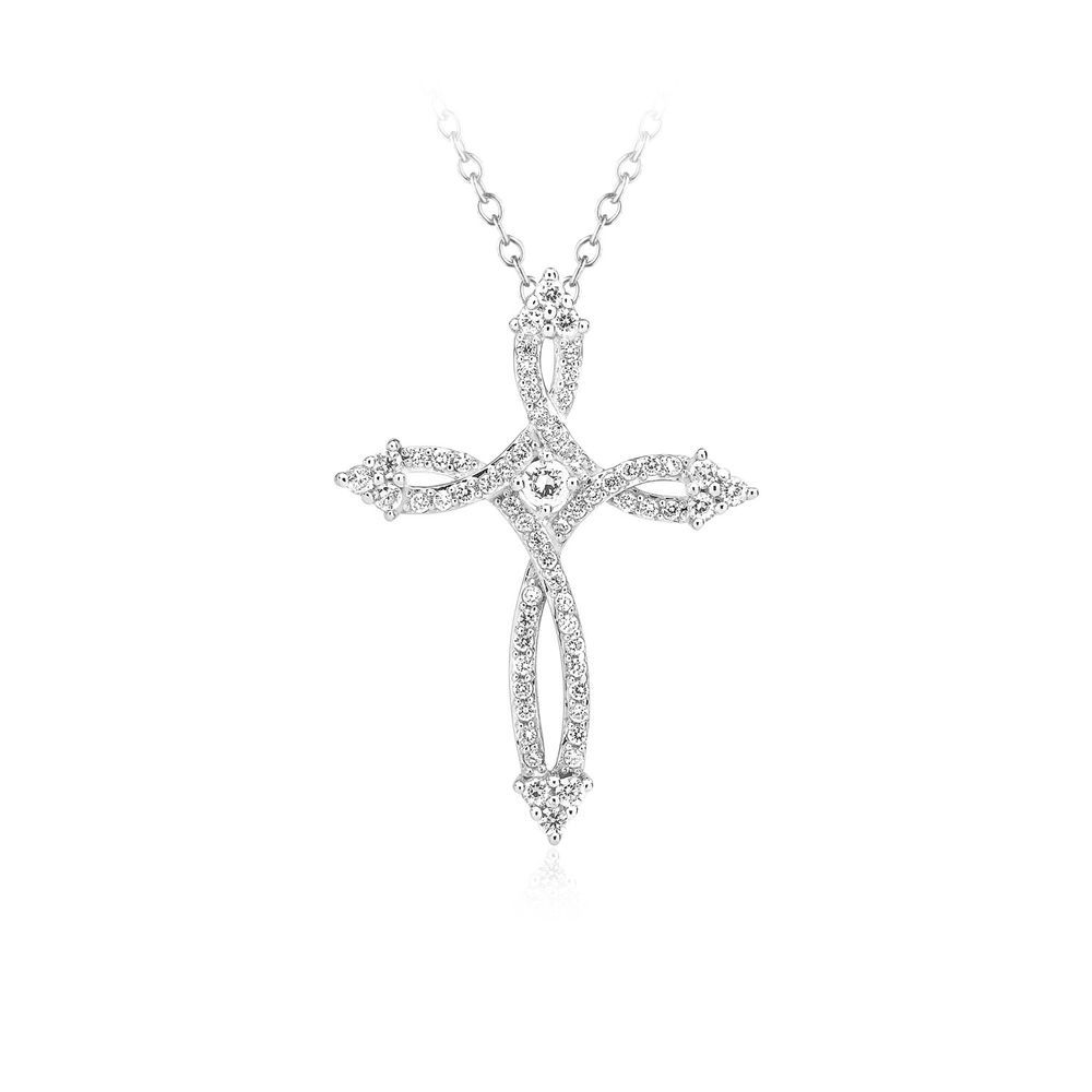 925 Solid Sterling Silver 1//10 Ct Real Natural Heart Cross Pendant Necklace