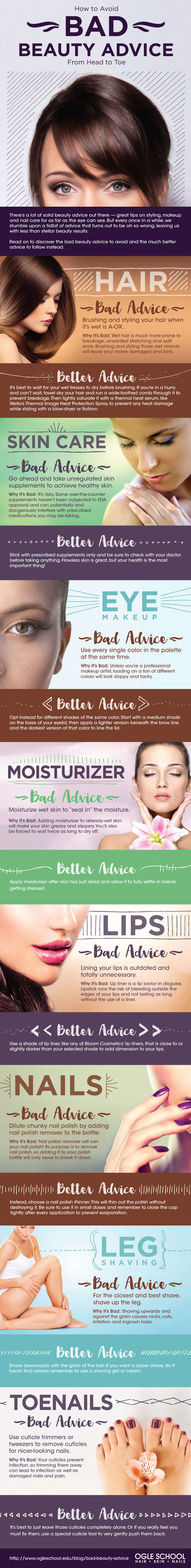 How to Avoid Bad Beauty Advice from Head to Toe #infographic