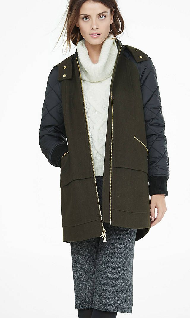 7ca9f0b5a1de Mixed Fabric Hooded Long Varsity Jacket from EXPRESS