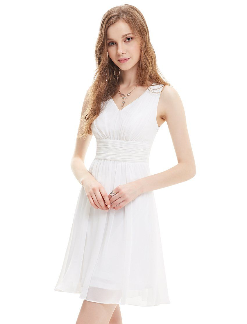 White Knee Length Empire Waist Chiffon Dress