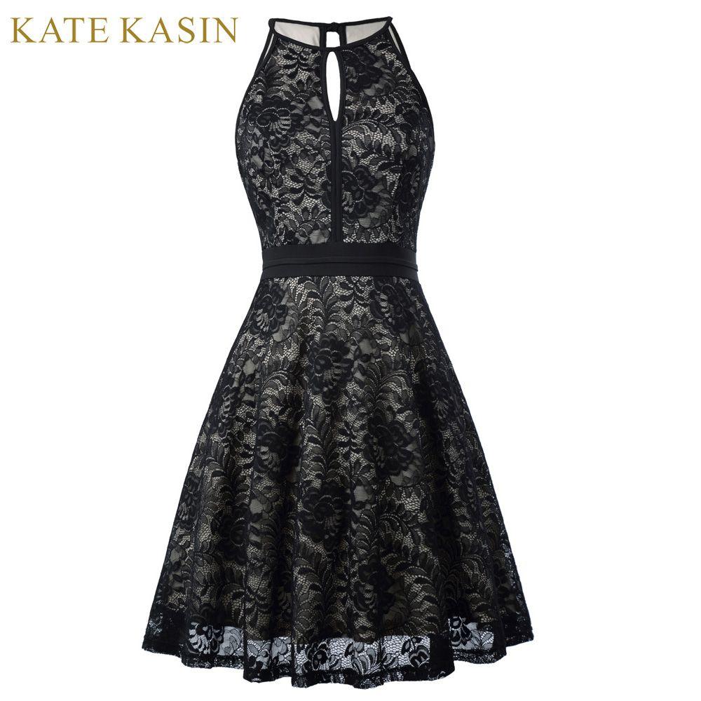 Kate Kasin 2017 Short Abendkleid Ärmelloses Vintage Schwarze Formale ...