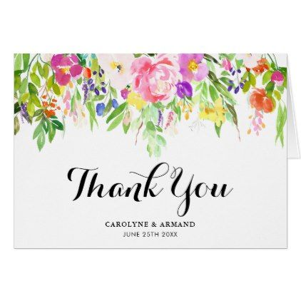 Watercolor spring flowers wedding thank you card watercolor spring flowers wedding thank you card script gifts template templates diy customize personalize special mightylinksfo