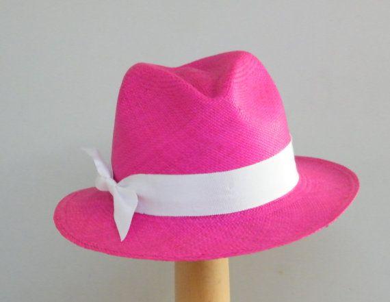 32d8733713472c Pink Panama hat / summer Fedora hat / womens sun hat / fushia sun summer  accessory