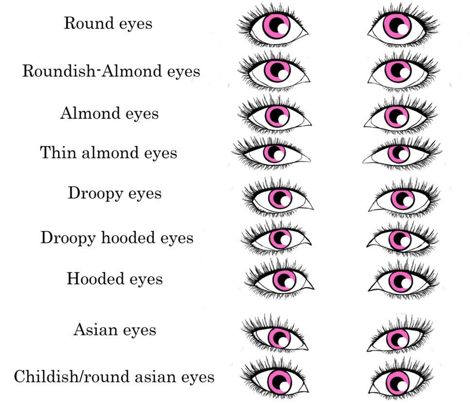 Nine eye shapes.   Eye shape chart, Shape chart, Eye shapes