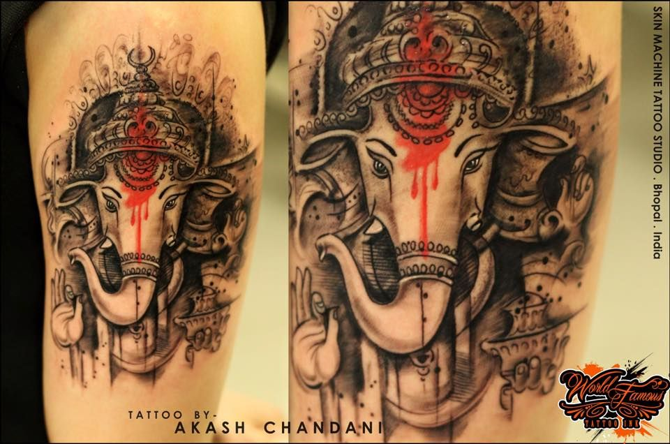 Abstract Lord Ganesha Tattoo By Akash Chandani Little Different Than My Usual Stuff Hope You Guys Like This Too Skin Ganesha Tattoo Tattoo Studio Tattoos