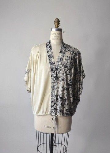 RACHEL COMEY Ivory Gray Ink Bird Print Silk Jersey Blouse