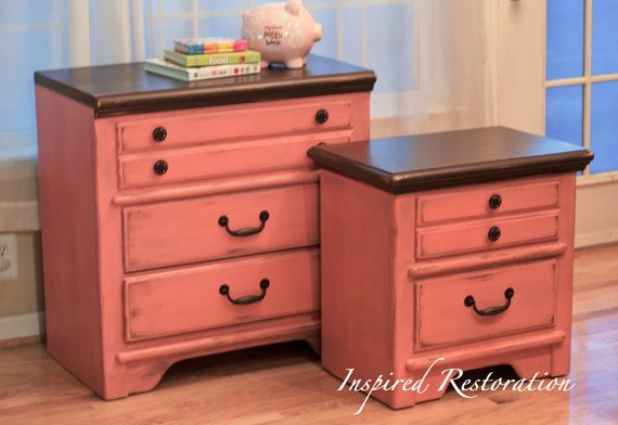 Best Coral Brown Dresser And Nightstand Refinished Painted 400 x 300